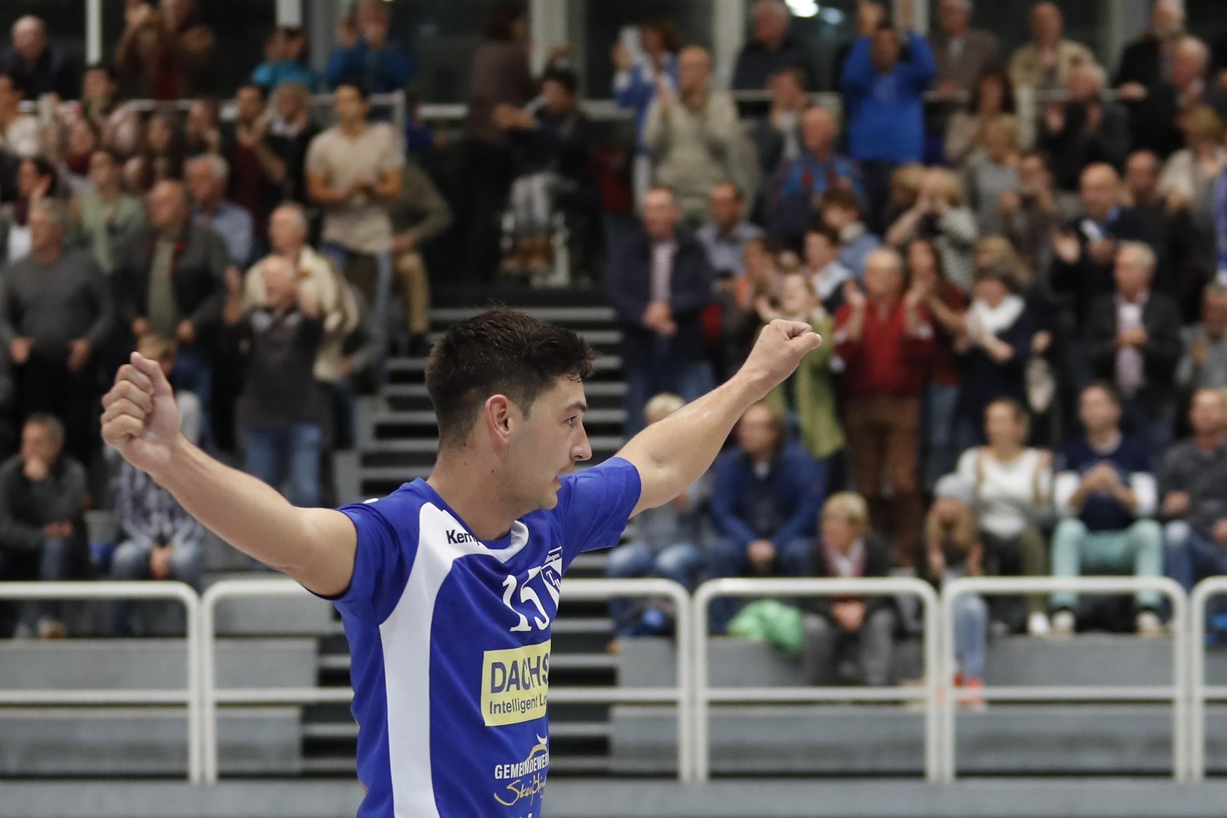 Timo Stroehle TuS Steisslingen  beim Spiel in der BW Oberliga zwischen dem TuS Steißlingen und de TV Weilstettten in der Mindlestalhalle in Steißlingen
